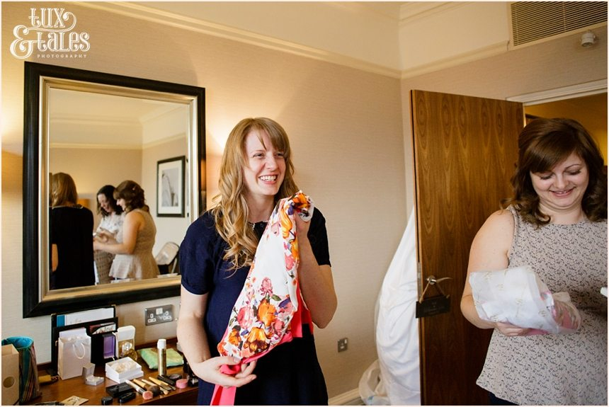 Cedar Court Grand Hotel Wedding bridesmaid gets gift of a dressing gown