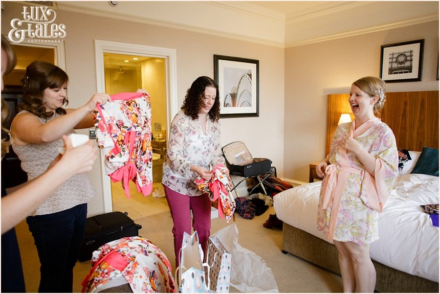 Bride gives bridesmaids gifts at Cedar Court Grand in York