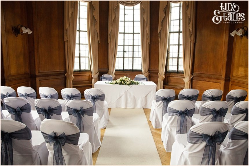 Cedar Court Grand Hotel wedding ceremony room with blue winter details