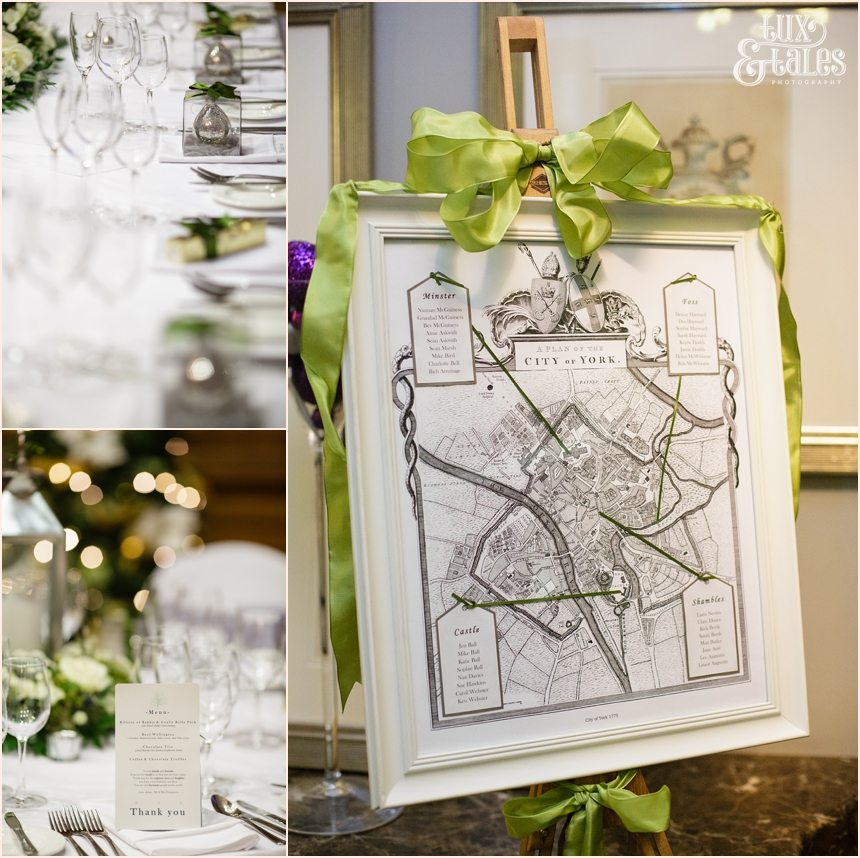 Winter Yorkw edding theme with blue and green details and a map of the city of york.