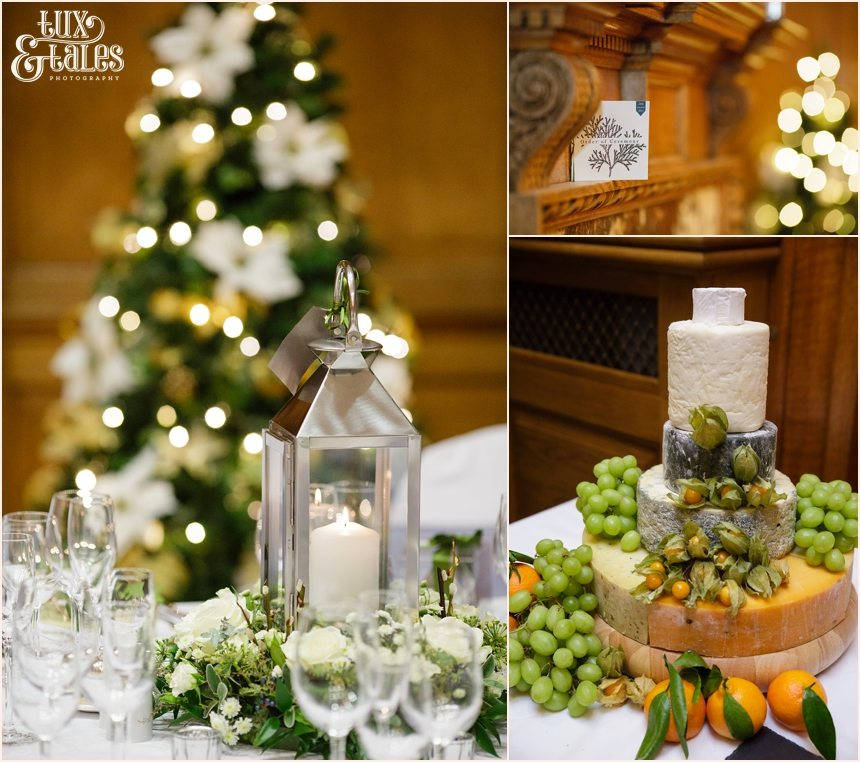 Candles and christmas details at a winter wedding