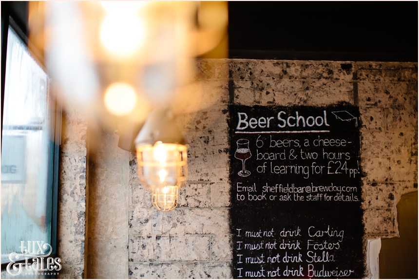 Brew dog sheffield interior photograph of lights and chalk board
