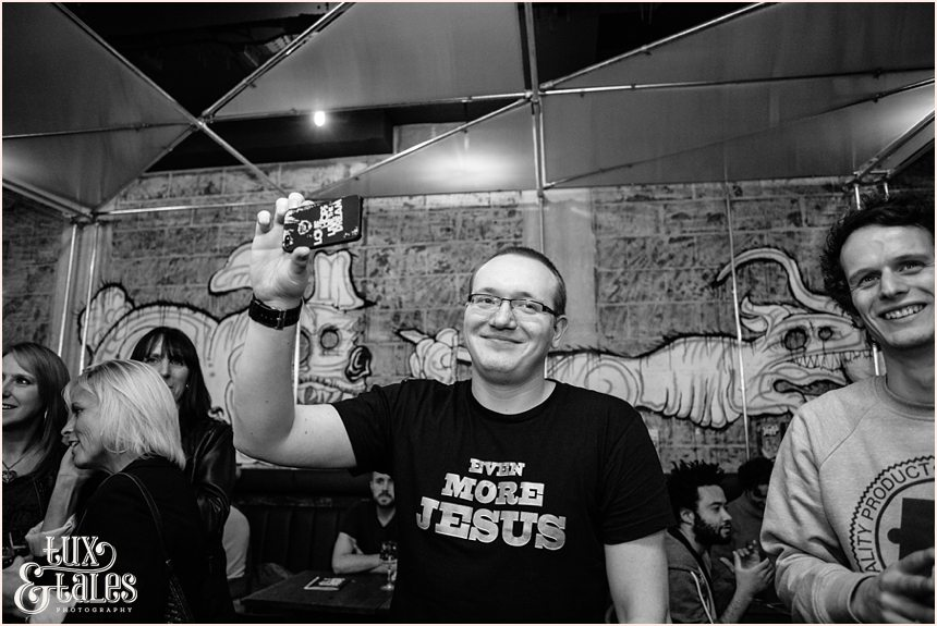 Patron smiles at Brew Dog Sheffiled