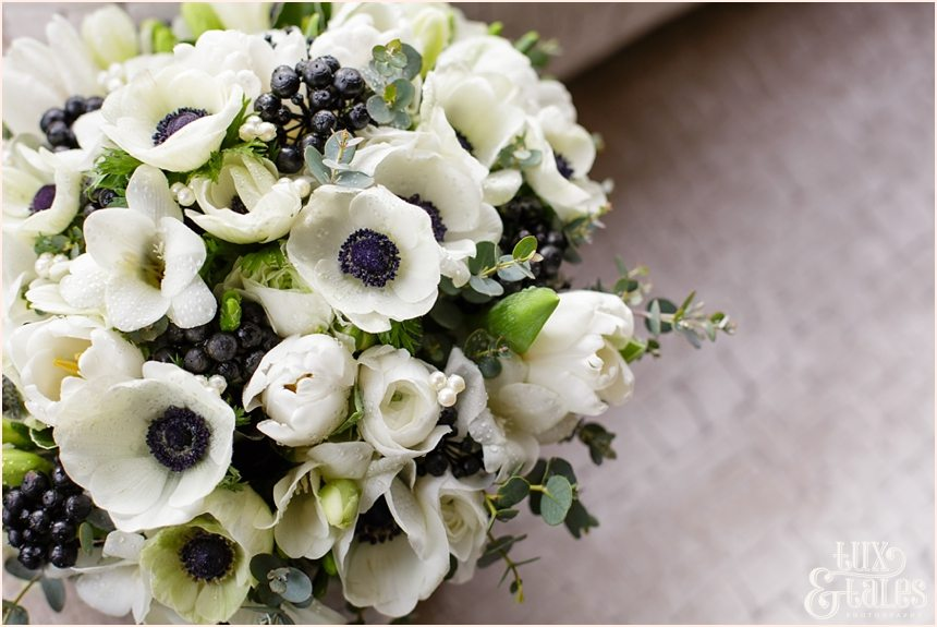 Black and white bouquet with anenomies at Hogarths wedding