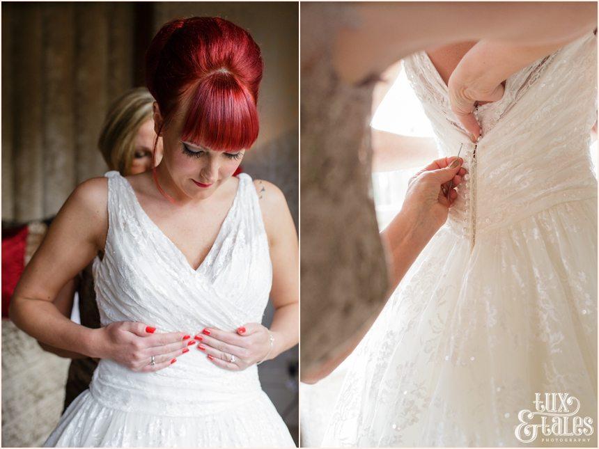 redhead bride gets into dress at hogarths hotel