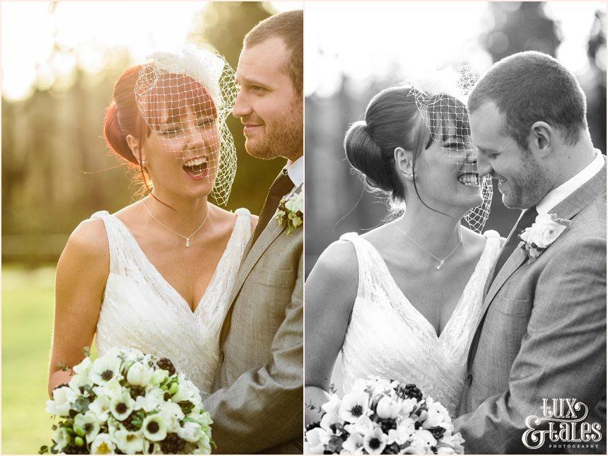 Low winter sun Hogarths Hotel Wedding with redhead bride in winter