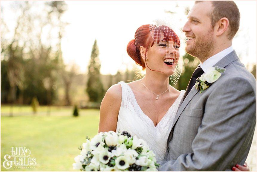 Bride & groom at Hogarths hotel weinter wedding in sunset
