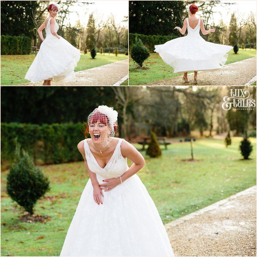 Redhead bride twirls dress at Hogarths Hotel Wedding