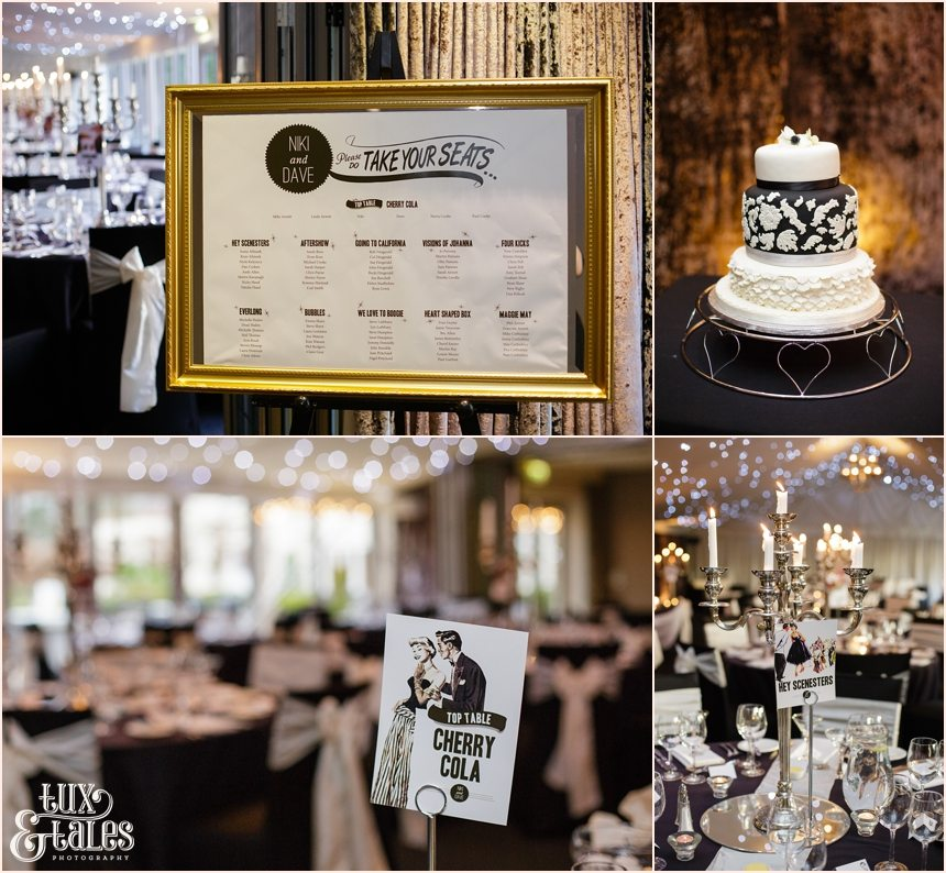 Black and white wedding details with a balck and white cake and winter lights