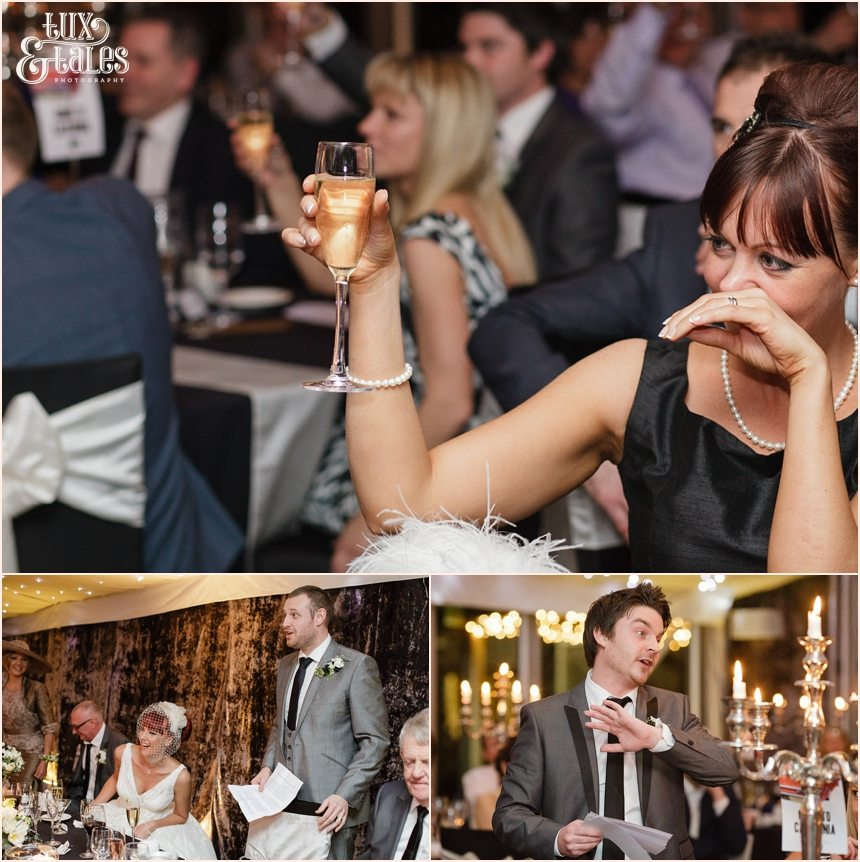 Smiling guests at wedding speeches at hogarths hotel