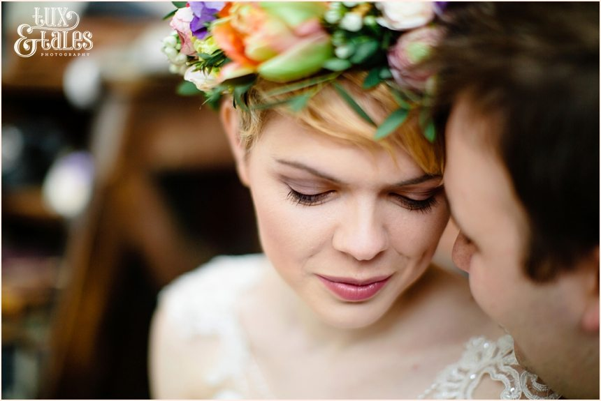 Boho bride in flower crown