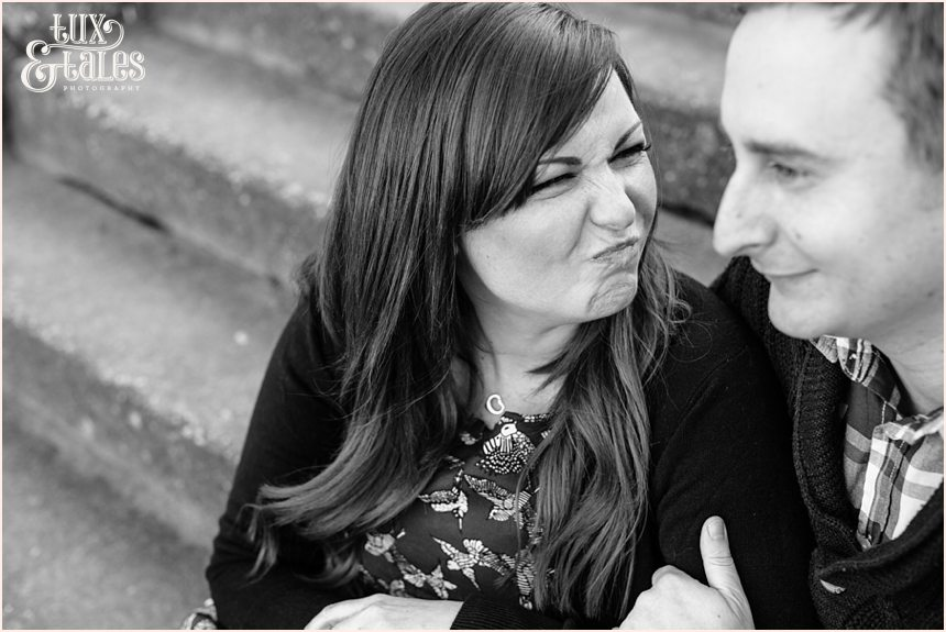 Bride makes silly face at relaxed engagment shoot in Scarborough