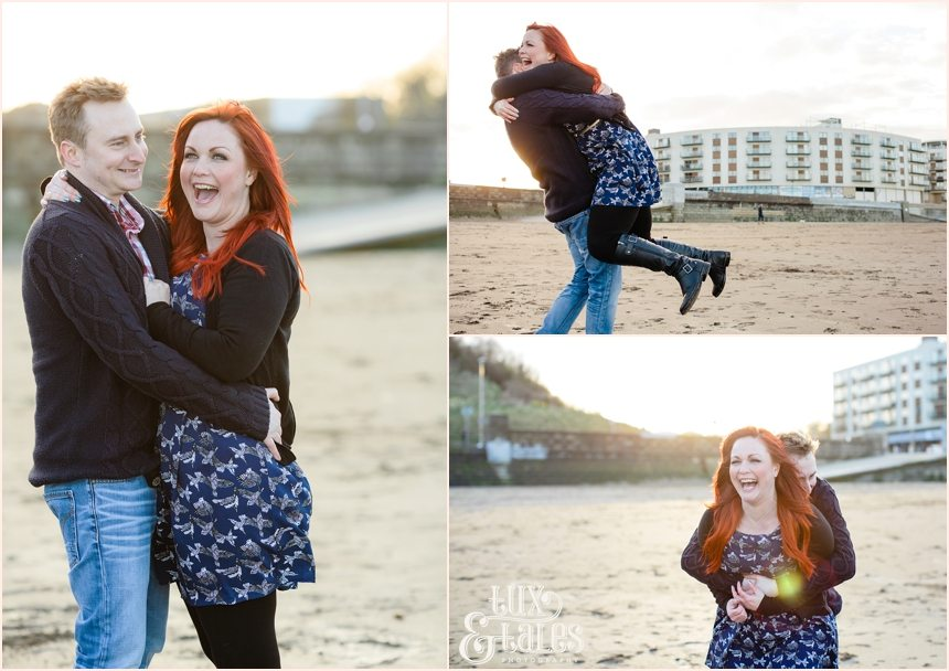 Couple play around in Scarborough engagement shoot