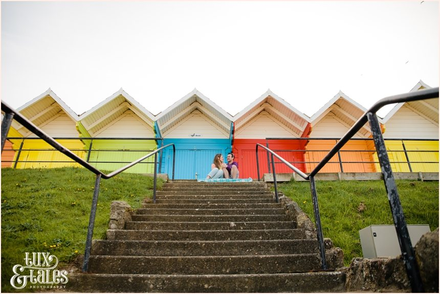 rainbow beach huts at North Beach Scarborough