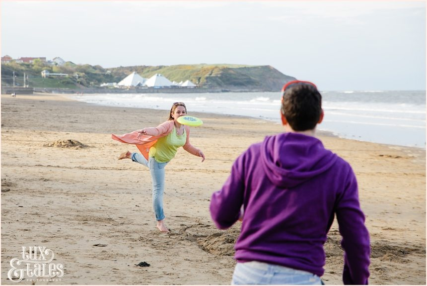 Bright coloured engagement photography photos at the beach in scarborough