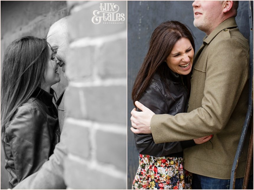 Happy laughing couple in Leeds Engagement Shoot
