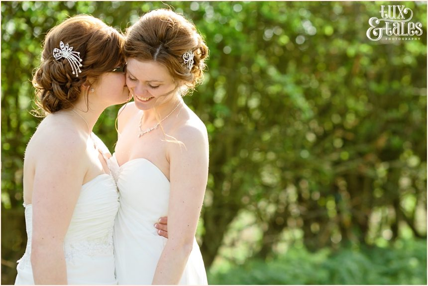 Two gorgeous brides in Yorkshire fields Ricall Regen Centre