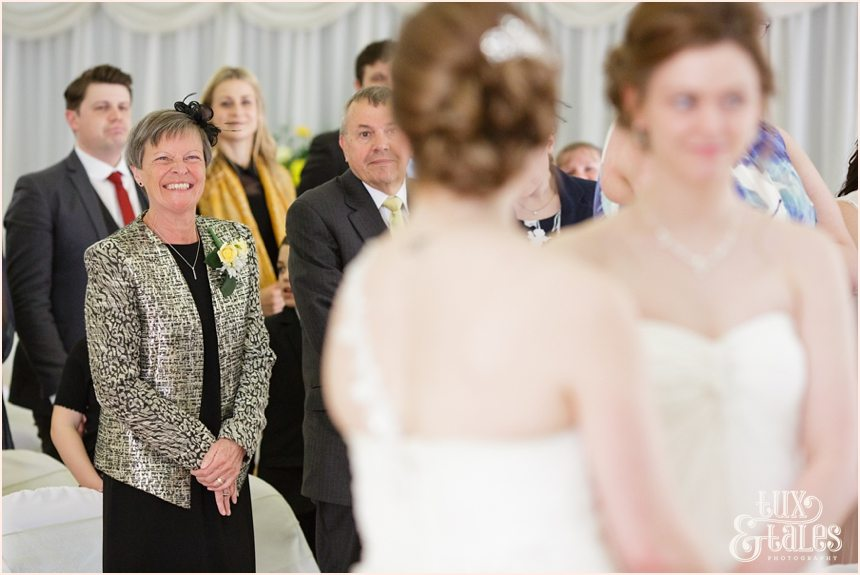 Happy smiles from guests at same sex wedding in York
