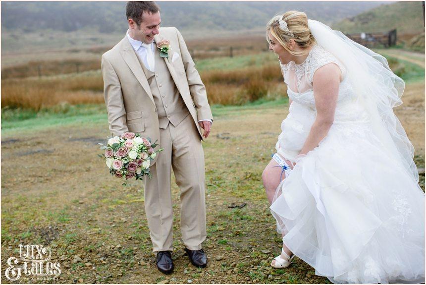 Bride shows her shefflied wednesday garter