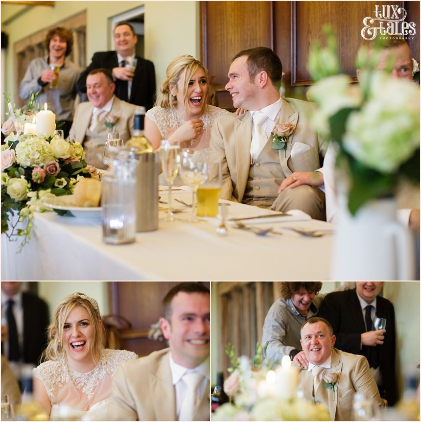 Laughing at Wedding speeches at the Alma Inn