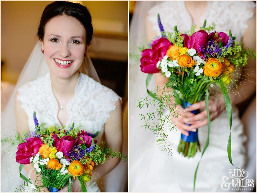 York Wedding Photography Bride holds brightly coloured bouquet