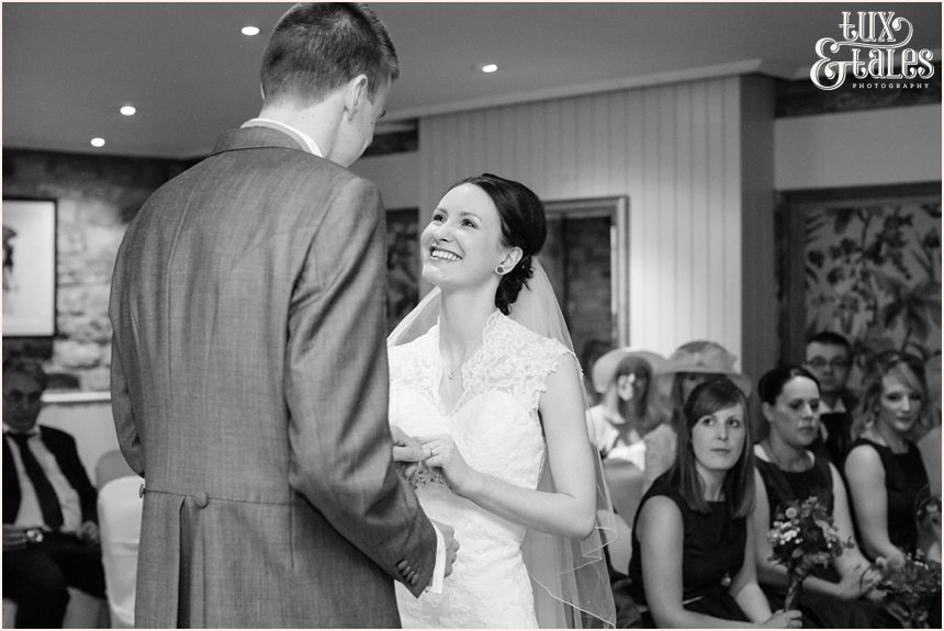 Bride and groom exchange vows at Yorkshire wedding