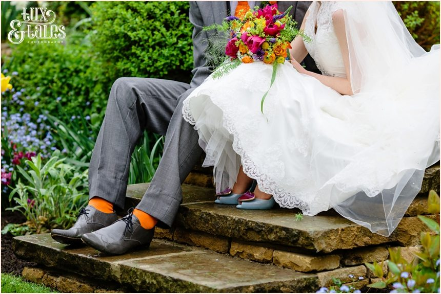 Bride & groom portraits Yorkshire wedding photography brightly coloured bouquet