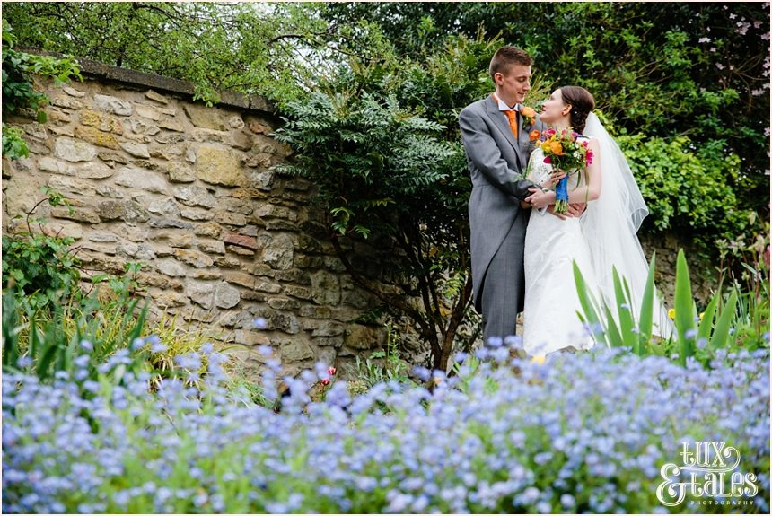 Brightly coloured bouquet at Yorkshire wedding