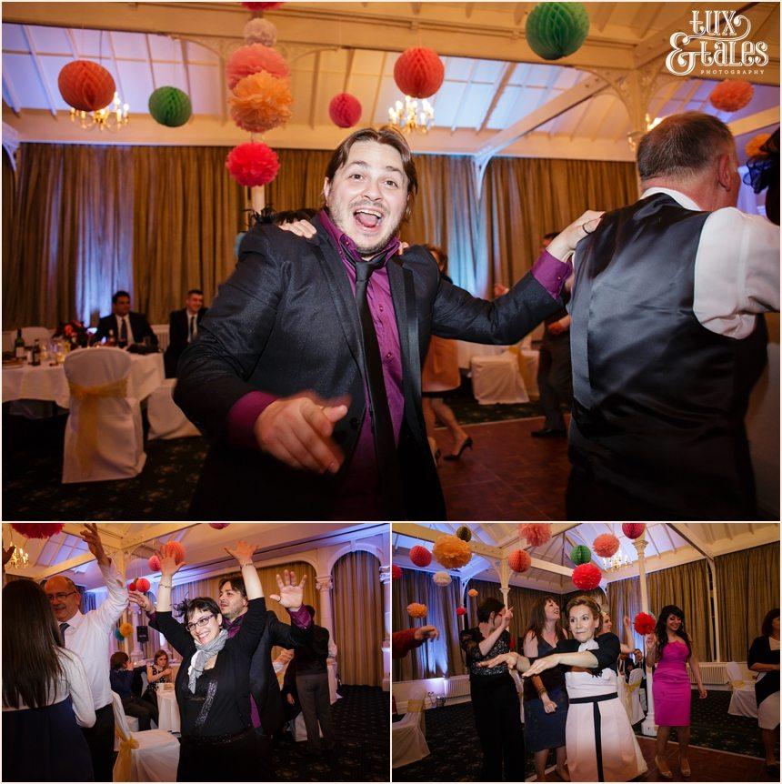 Old swan in Harrogate wedding photography conga line