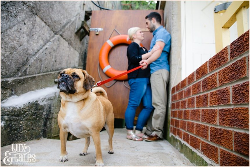 Filey beach engagement shoot with dog puggle