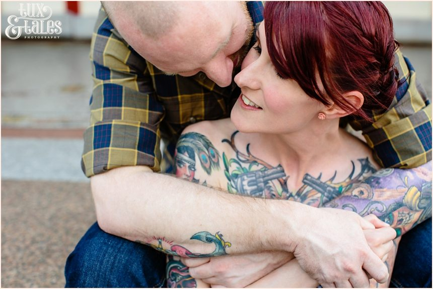 Tattooed couple at hyde park picture house engagement shoot