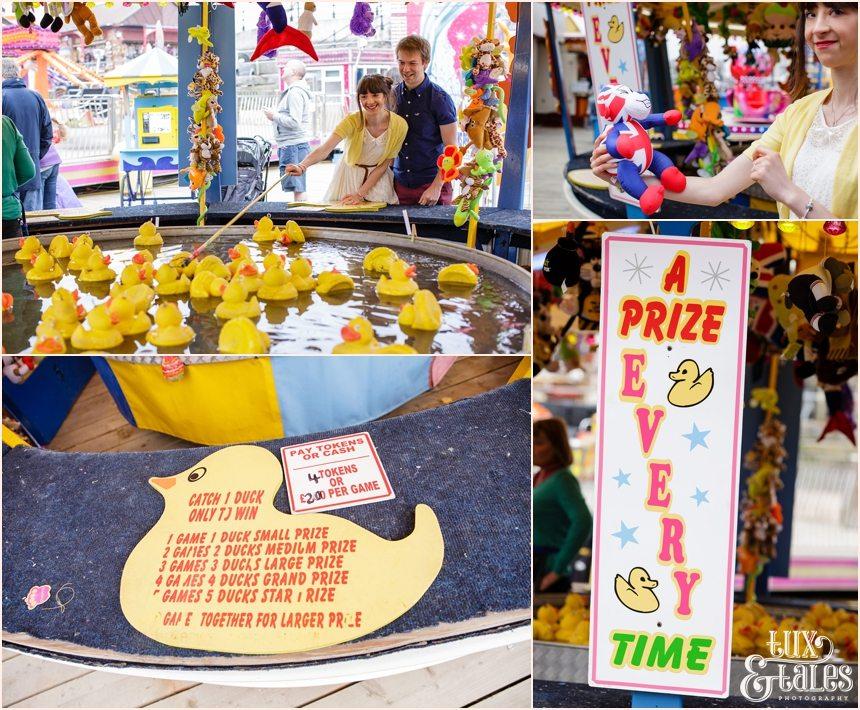 Game at carnival at Luna Park Engagement shoot