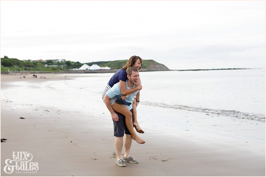 Yorkshire engagement photography at beach in Scarborough