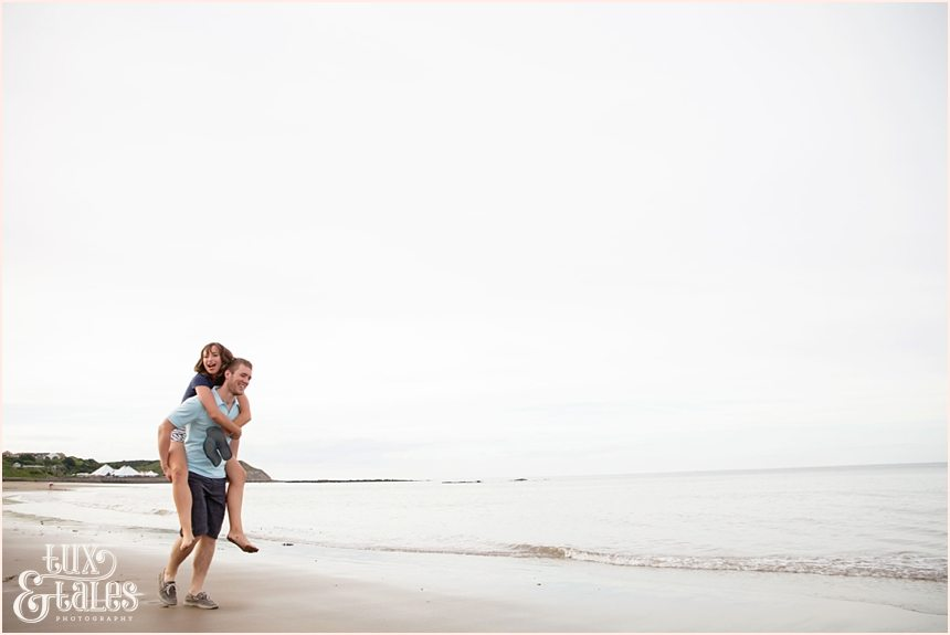 Piggy Back ride in Scarborough engagement shoot