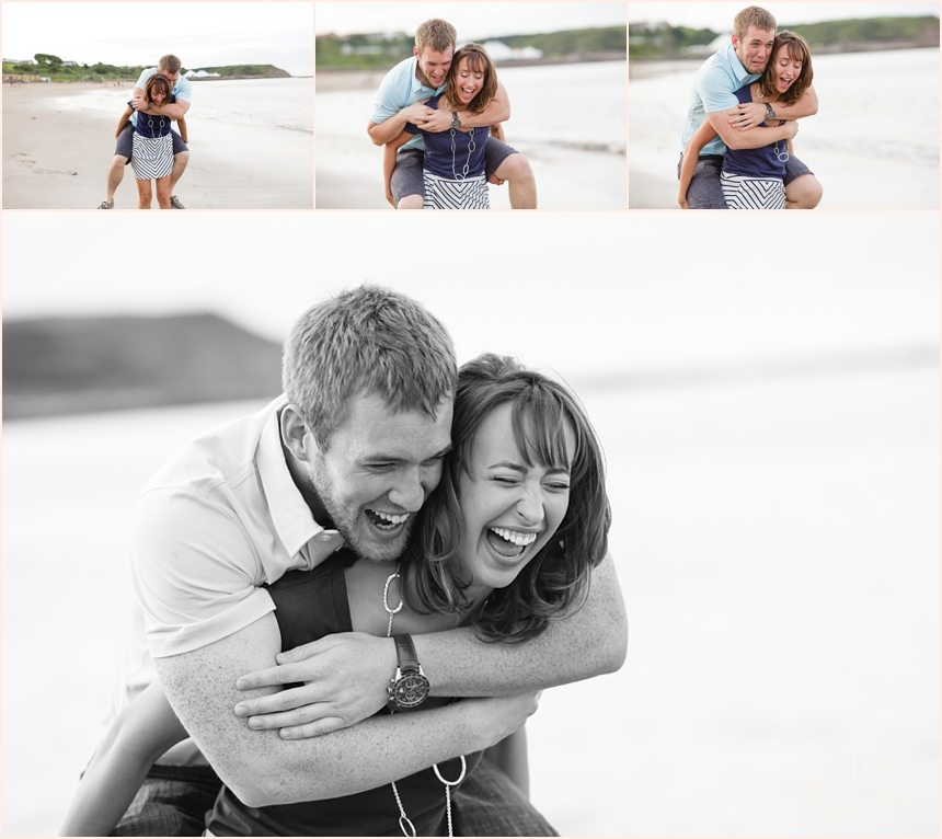 Engagement shoot piggy back ride in Scarborough