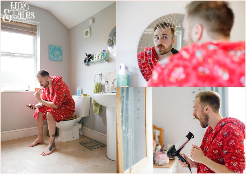 Yorkshire wedding photography groom preparation