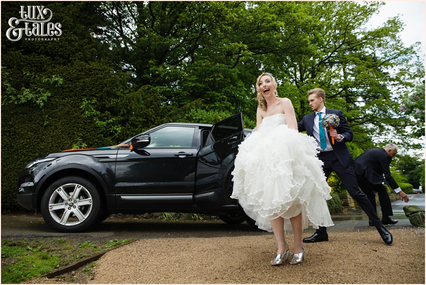 Bride arrives at Yorkshire Sculpture Park