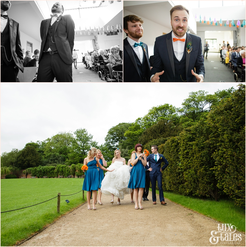 Groom waits for bride as she arrives at Yorkshire Sculpture Park Wedding Photography