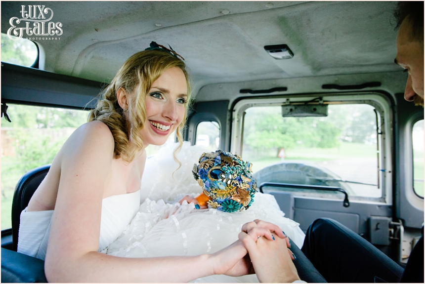 Bride and groom in Jeep at Yorkshire Sculpture Park