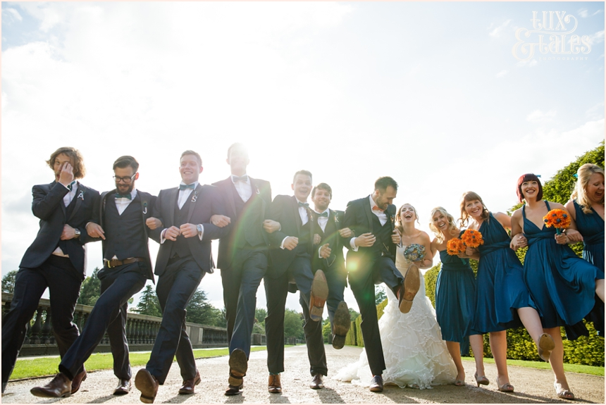 Fun wedding photography at yorkshire sculpture park