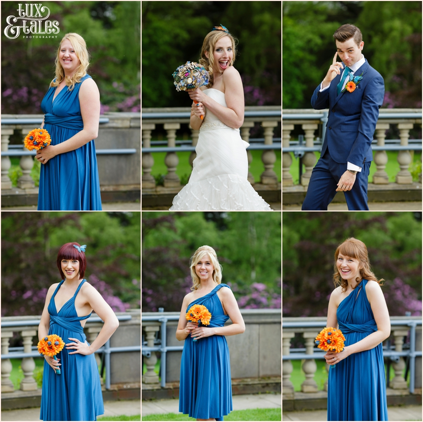 Bride and bridesmaids at yorkshire sculpture park