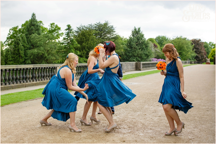 Bridesmaids twirl dresses at Yorkshire Sculpture Park
