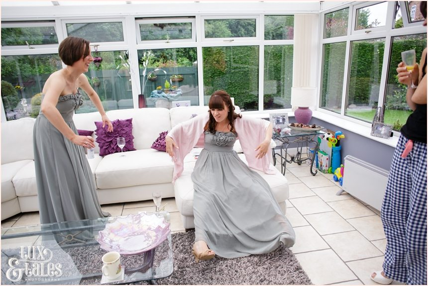 Funny bridesmaids get ready documentary wedding photography york