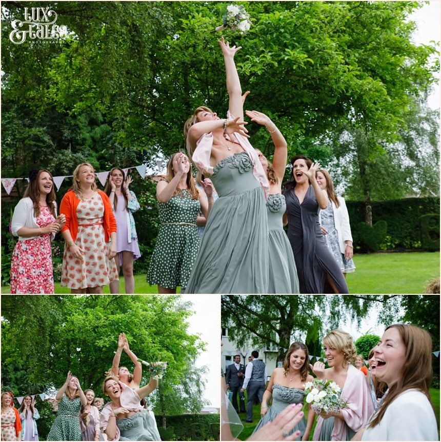 Bridesmaid catches bouquet at York Wedding