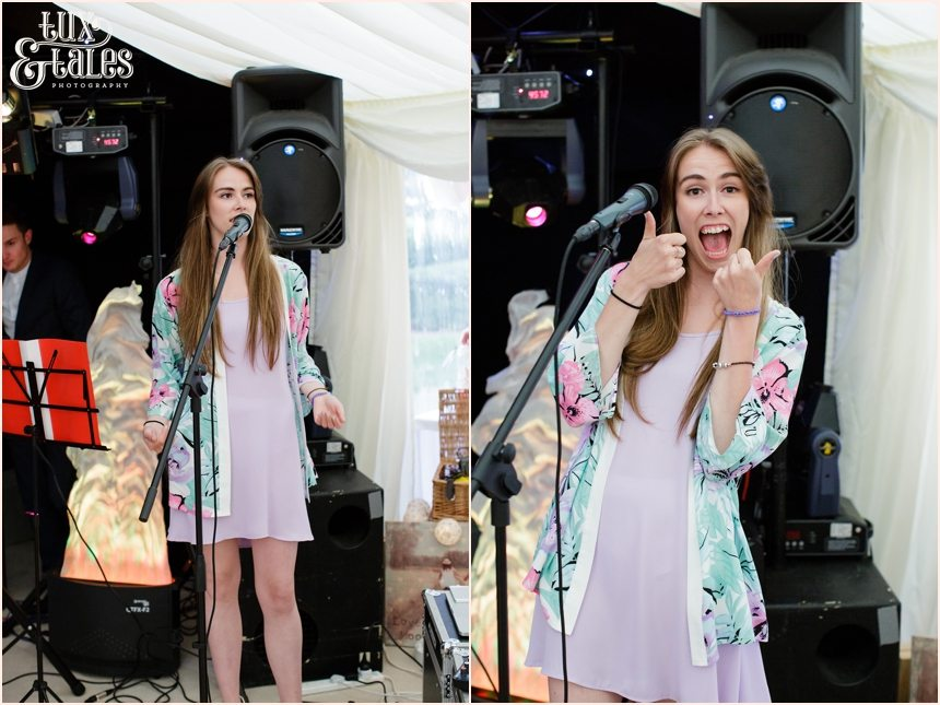 Singer makes silly faces at york wedding