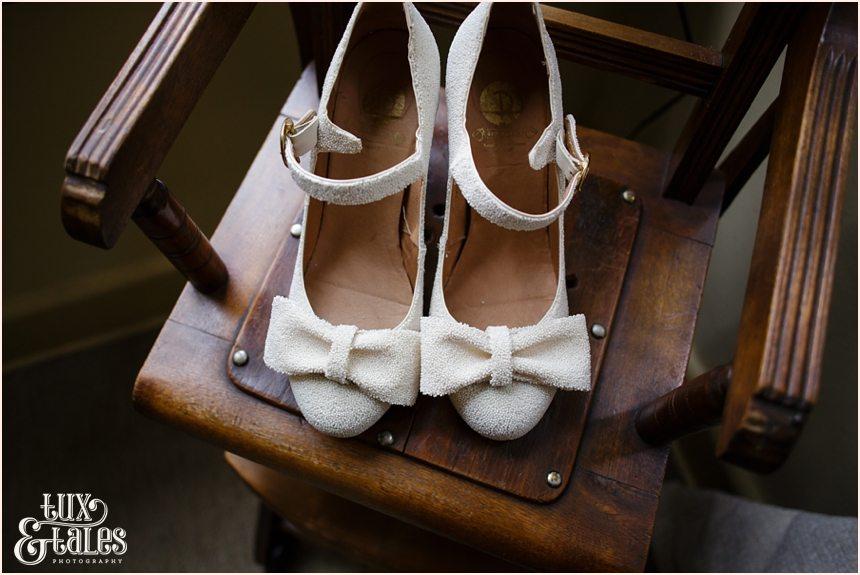 Brides shoes detail wedding photography Althrincham back garden wedding