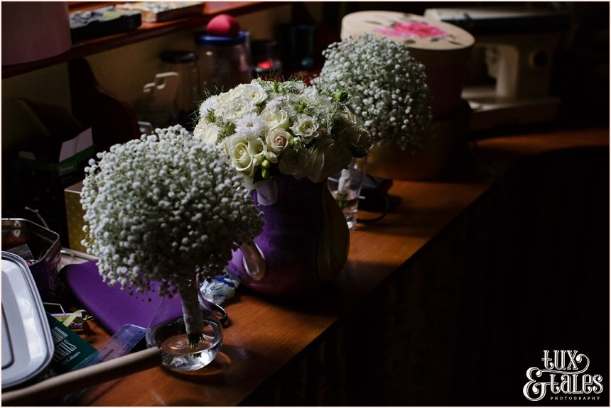 Bouquets at Altrincham back garden wedding