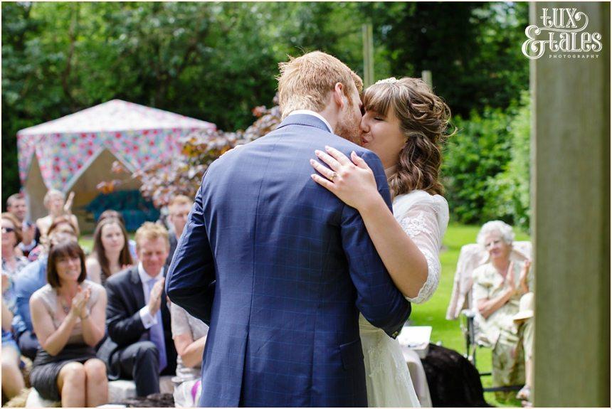 Wedding photogrpahy in back garden in Altrincham