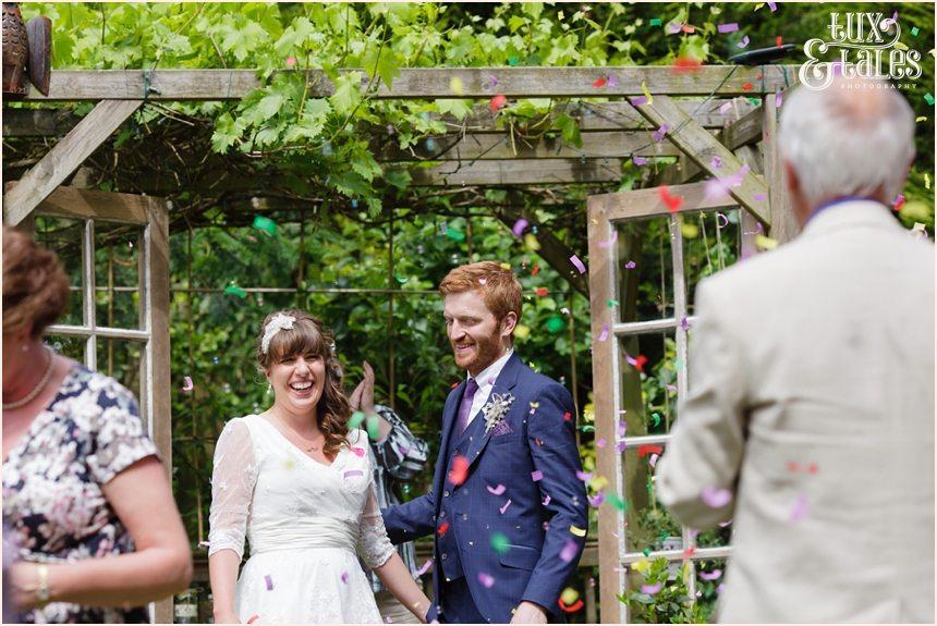 Confetti in back garden wedding in Altrincham