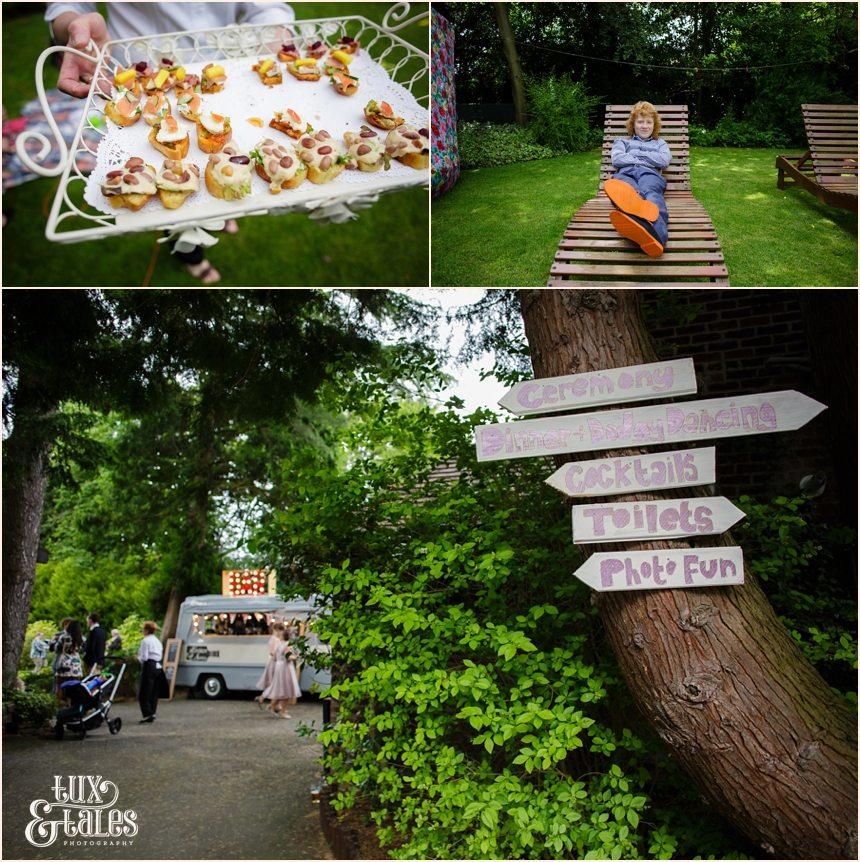Back garden wedding photography informal detaisl with mobile bar